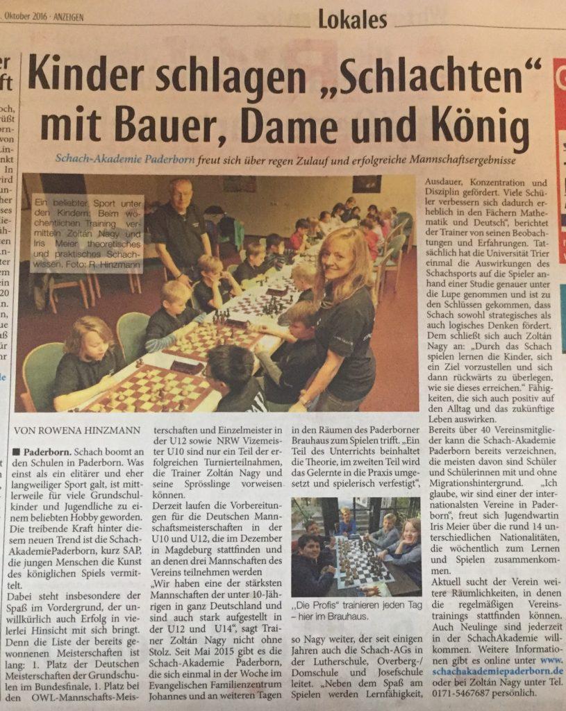Schach-Akademie Paderborn in Westfalen-Blatt am Sonntag